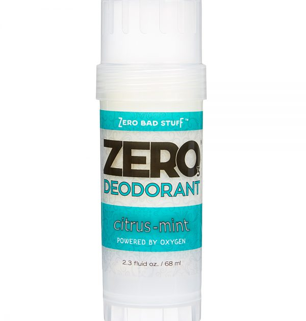 ZERO Deodorant – Oxygen Powered De-Stinkerizer – Long Lasting, All Natural, Safe for Sensitive Skin – Citrus-Mint scented with Tangerine & Lemongrass Essential Oils